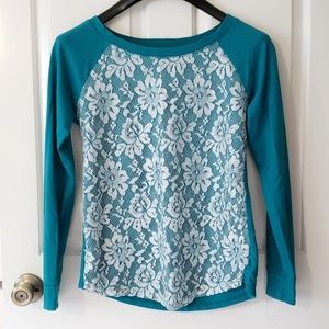 Teal lacy sweater